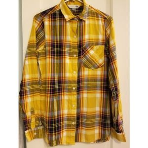 Old Navy Yellow Plaid Flannel Button Up Top